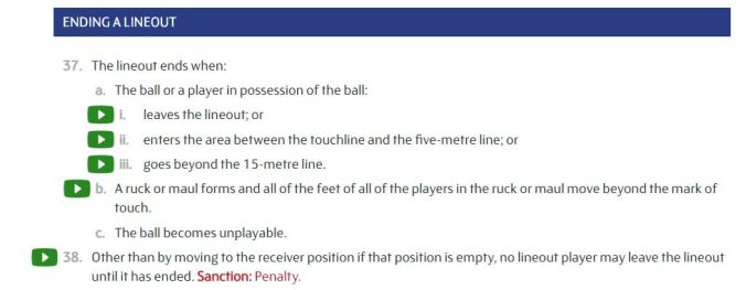 laws ending a lineout