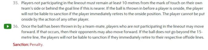lineout offside laws
